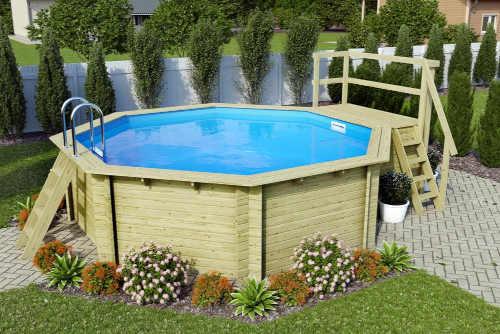 Nadzemný bazén s drevenou konštrukciou