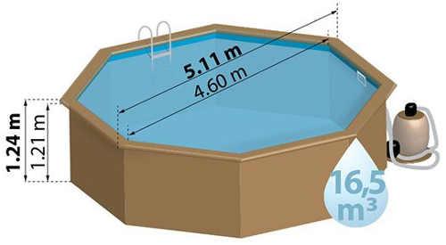Drevený bazén pre záhradu s priemerom 5 metrov