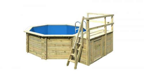 Drevený osemhranný bazén