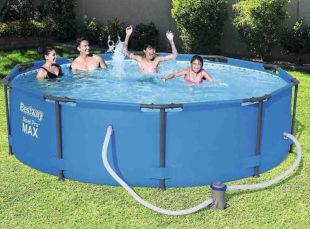Lacný záhradný bazén s priemerom 3 metre vrátane filtrácie
