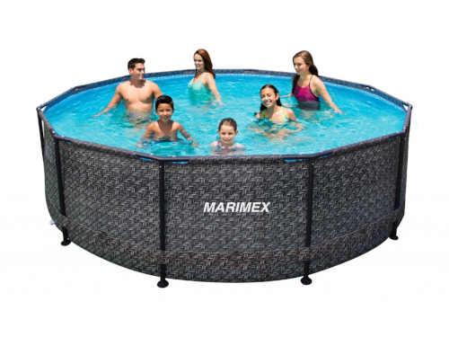 Moderný kruhový bazén v imitácii ratanu