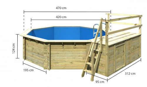 Osemuholníkový bazén z dreva