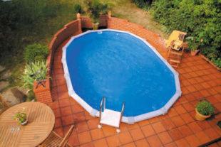 Oválny bazén na čiastočné alebo úplné zapustenie