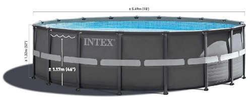 Šedý kovový bazén do záhrady s výškou hladiny 117 centimetrov