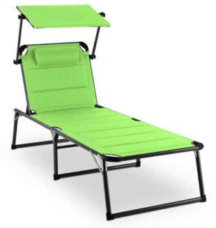 Zelené záhradné ležadlo s penovou výplňou a slnečnou clonou