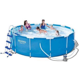 Kruhový bazén s nosnou konštrukciou a filtráciou