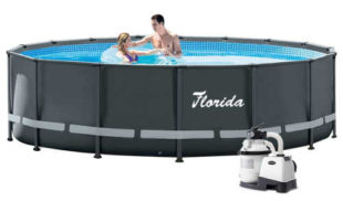 Šedý nadzemní bazén Florida Premium 4,88×1,22 m s pískovou filtrací