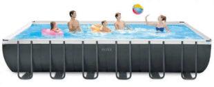 Veľký obdĺžnikový nadzemný bazén s pevnou oceľovou konštrukciou